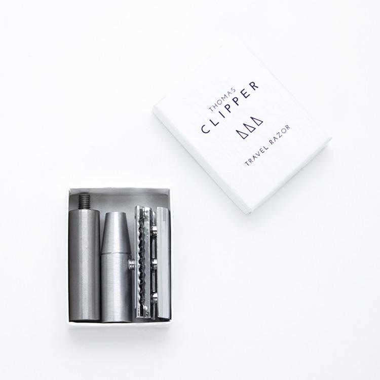 Luxury matchbox double edge travel razor by Thomas Clipper