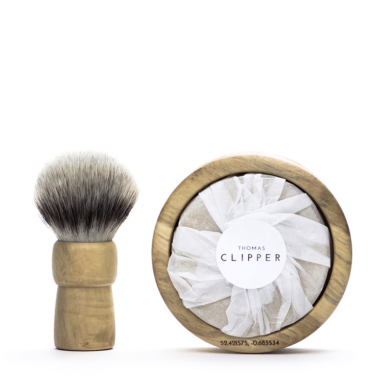 Luxury handmade shaving brush and natural shave soap by Thomas Clipper