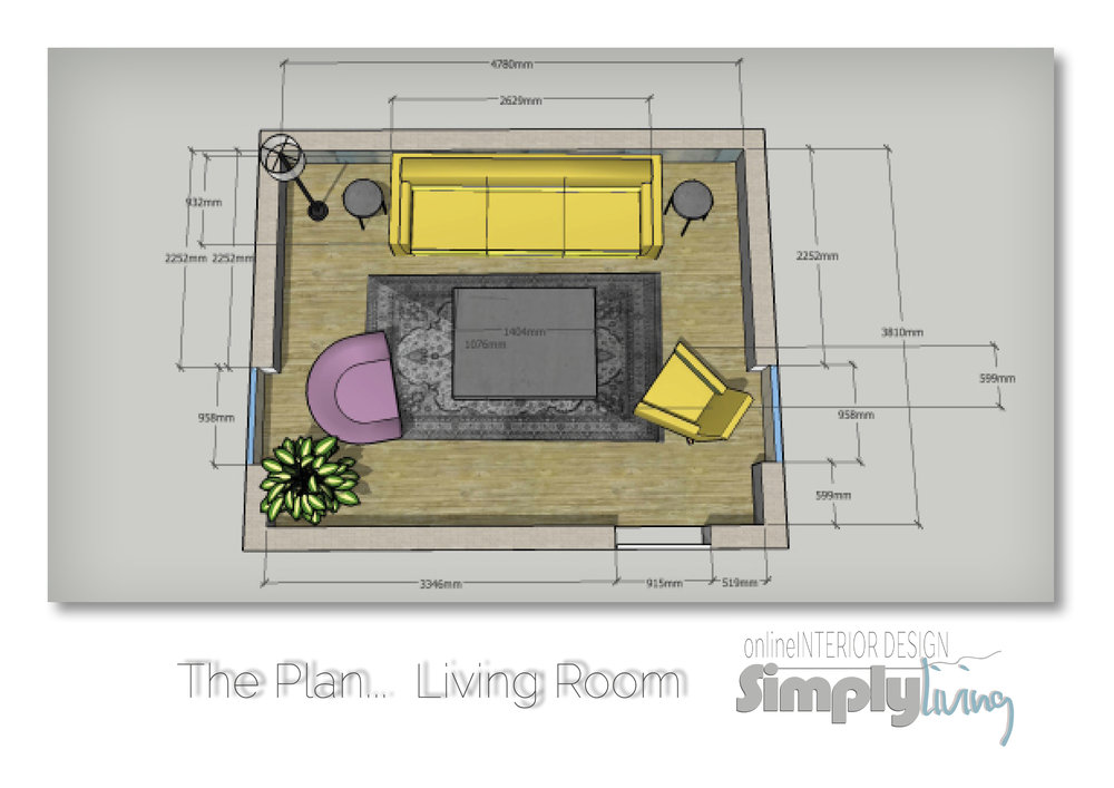 floor plan                  - Once the concept is finalized the designer then proceeds do draw-up a detailed plan with room measurements to ensure that all your favorite pieces fit into the space, there might be some changes here. Your designer will communicate and advise if there are, immediately working with you to come up with new solutions. Included in the plan you will receive set-up instructions  with all finishes and colours discussed during the initial concept stage.