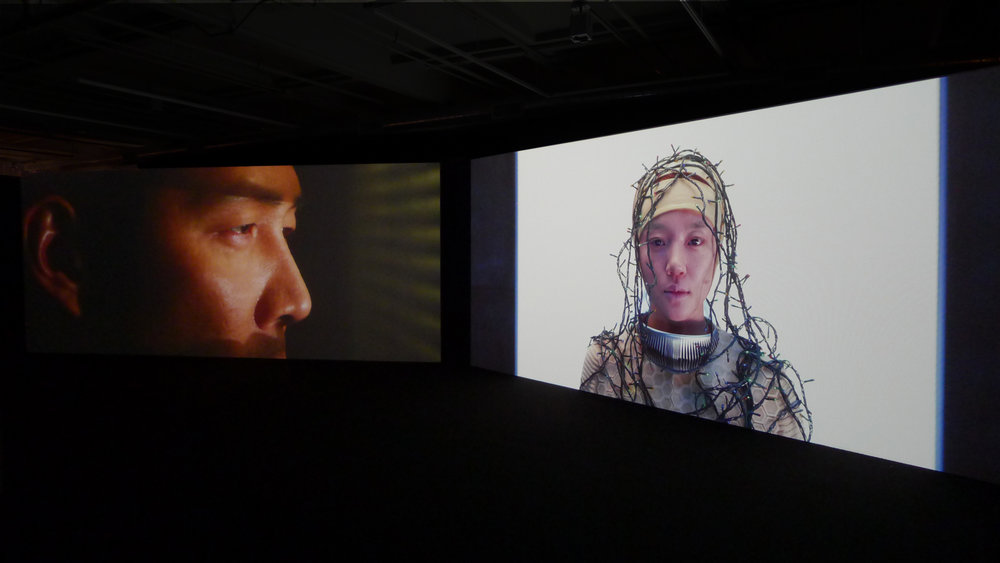 "The film EL FIN DEL MUNDO is premised on a future in which the survival of the human race is threatened due to drastic changes in the Earth's environment. The two-screen video installation asks back: in the end, what form and posture will the last remaining art take on, as seen through the artwork of an artist standing at the verge of death and at the final moment of a human catastrophe? What is the meaning of art that examines the process in which the ""new"" humans, having been reborn following the disappearance of all our current values, realize an aesthetic consciousness and gain a self-awareness about art? Through the artists' recollections and discussion of the issues that were pertinent to the state of the world previously known to them, and their attempt to suggest what the definition and concept of aesthetics may be when all has changed, an introspective examination of current social structures and their irrationality is presented. Starring Lee Jung-jae and Yim Soo-jung, this film reveals the nexus between the image of the world's last remaining art and an art that announces new birth.   影片《世界末日》以这样一个未来为前提——由于地球环境的急剧变化,人类的生存受到了威胁。这部双频影像装置反问道:从面临死亡的艺术家所创作的作品和人类灾难的最后一刻来看,世界上留存下来的最后的艺术会呈现出怎样的形式和姿态呢?那些审视在我们当前价值观消失后重生的""新""人类实现其美学意识、并获取一种对艺术的自我认知的过程的艺术,它们的意义又何在呢?通过对先前已知世界状态等相关议题的的回忆和探讨,以及对大变革之后美学的定义与概念之可能的常识性解答,两位艺术家对当前社会结构及其非理性的特点进行了自我审视。这部影片由李政宰和金来元出演,揭示了旧世界最后之艺术以及新世界最初之艺术之间的联结。  《世界末日》,2012年,双频高清电影,13分35秒 El Fin Del Mundo, 2012, 2 channel HD film, 13 mins 35 secs"