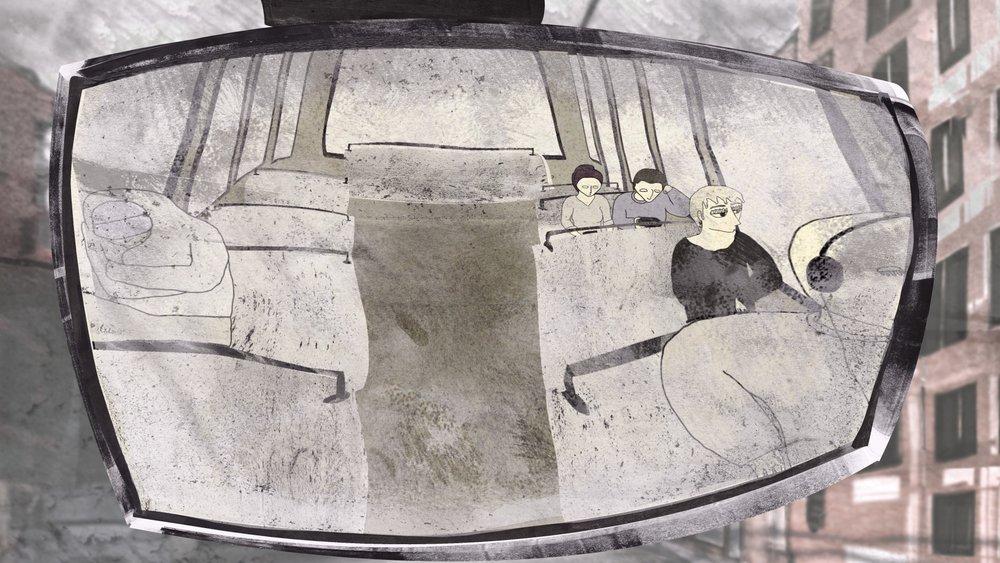 - 莱亚·斯汀曼、丽莎·鲁道夫、阿尔苏·萨格拉姆Lea Stirnimann, Lisa Leudolph, Arzu Saglam作品名称:《结》导演:莱亚·斯汀曼、丽莎·鲁道夫、阿尔苏·萨格拉姆制片:格尔德·格克耳国家/地区:瑞士创作时间:2013 音乐:弗洛里安·施耐德片长:5分30秒Title: KnotsDirector: Lea Stirnimann, Lisa Leudolph, Arzu Saglam Producer(s): Gerd Gockel Country/Area Switzerland Year of production: 2013 Music: Florian Schneider Length: 5 mins 30 secs作品介绍乘坐公共汽车穿越城市看上去,最起码在一开始看上去,真是稀松平常。然而坐巴士的时间越久,乘客看到窗外的景象就越奇异,越超现实。这些景象集合在我们这个世界上一个别出心裁的、时而搞笑、时而冷酷的幻想之中(以及它的特有风格之中)。Synopsis A bus-ride through a city which looks - at least in the beginning – quite normal. The longer the ride lasts, the more bizarre and surreal the scenes become which the passenger sees through the window. They coalesce in an inventive, sometimes funny, sometimes bleak vision of our world (and its idiosyncrasies.)