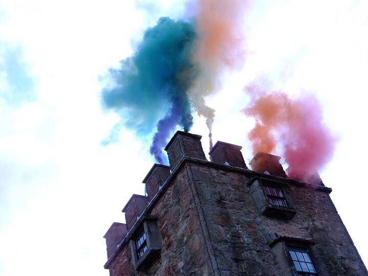 this work was an action in response to us pinning the rainbow flag on the tower at the being of the residency and it being ripped day within a week.
