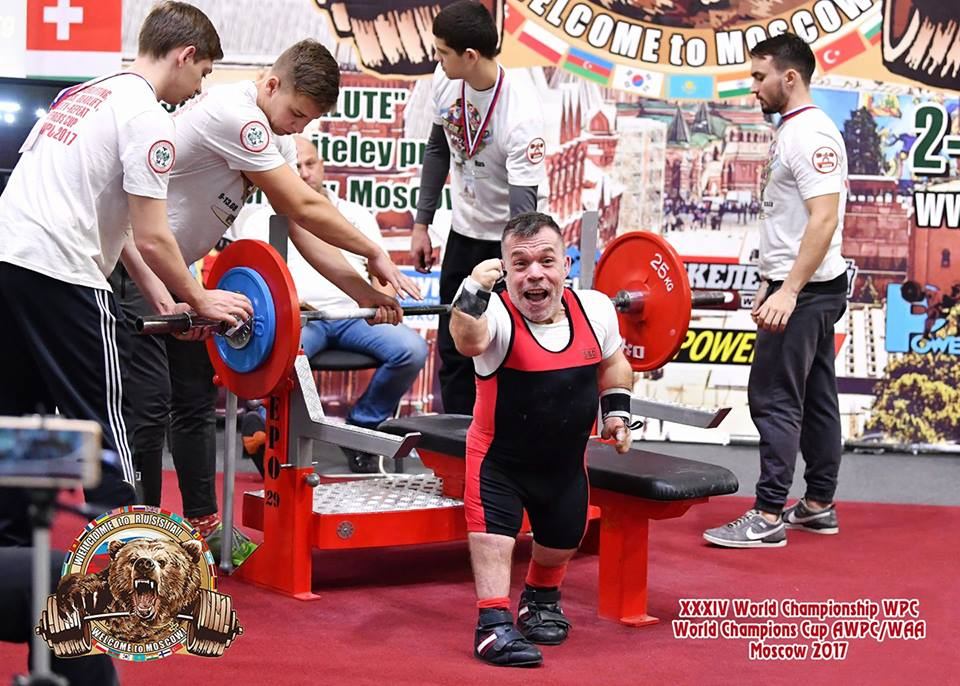 Rich Willis Celebrating after setting his current World record of 102.5kg in Moscow.