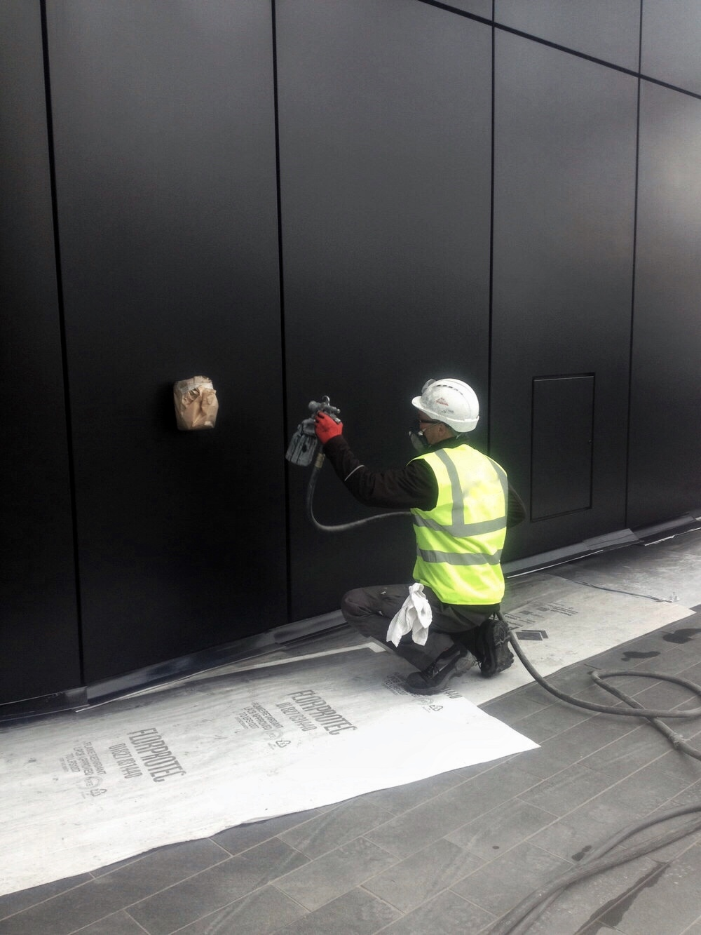 Remclad Cladding Repair and Respraying works at Crossrail Canary Wharf.JPG