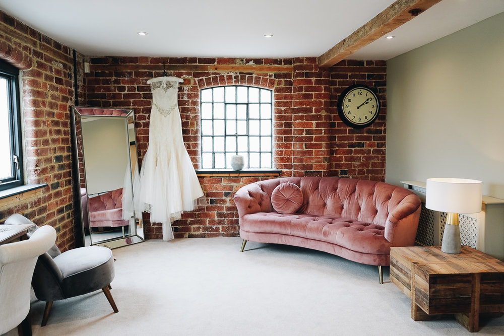 Bridal dressing room in Derbyshire wedding venue