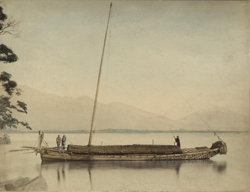 Fishermen on a boat. Hand colored albumin print by Felice Beato, Kusakabe Kimbei, or Raimund baron von Stillfried, Japan, ca. 1870-1890.