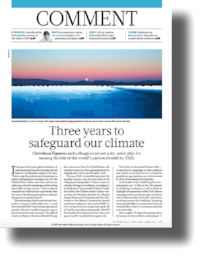 Three Years to Guard Our Climate .  Christiana Figueres, et al. Published in  Nature . (June 2017)