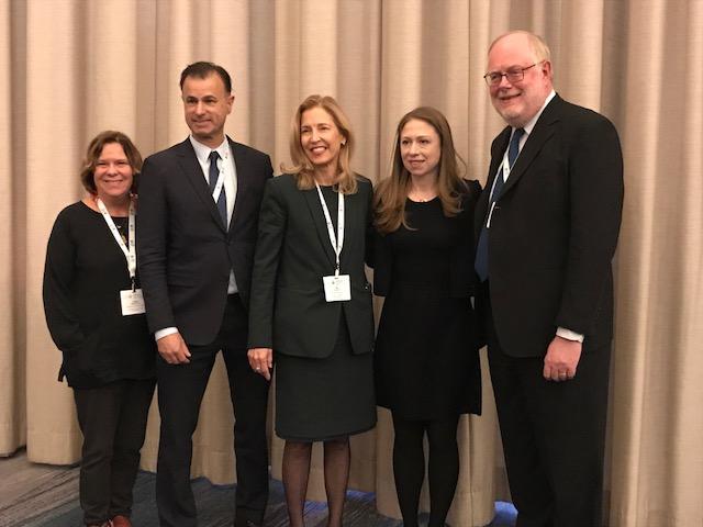 L-R: Peggy Bentley, UNC; Keith Martin, Executive Director of CUGH; YSN Dean Ann Kurth & Chair of CUGH; Chelsea Clinton; Pierre Burkens, past CUGH chair, Tulane University.
