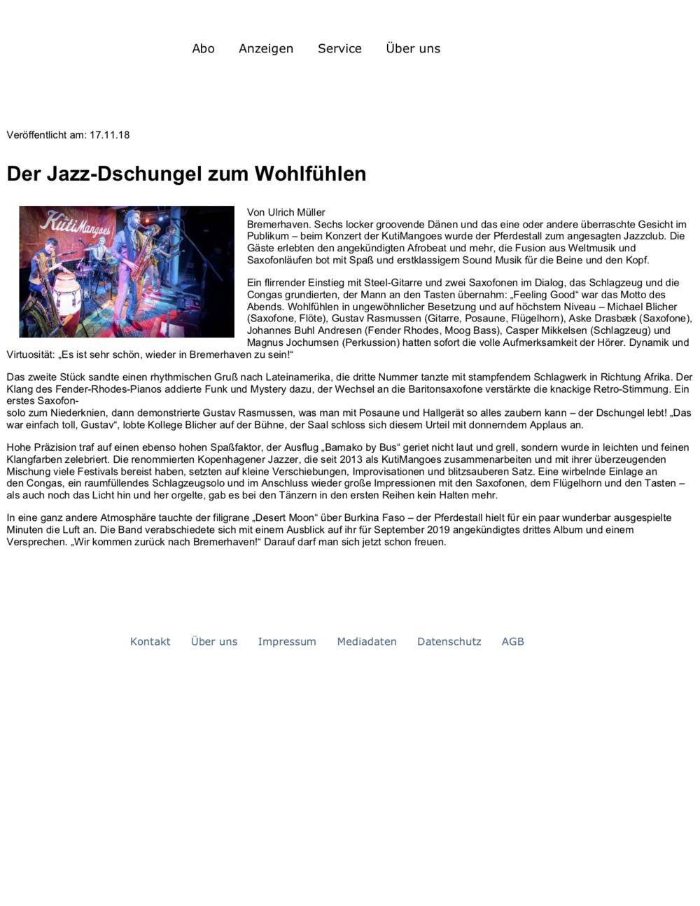 Nordsee Zeitung: Der Jazz-Dschungel zum Wohlfühlen