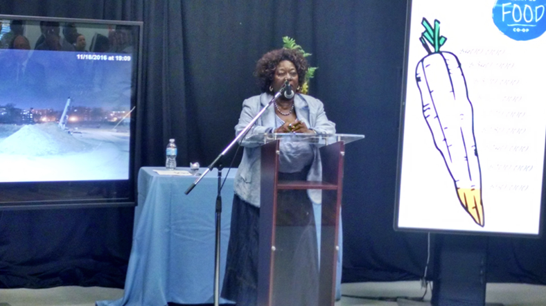 Photo: The Honourable Dr. Jean Augustine at the launch of the Berry Road Co-op fundraising campaign