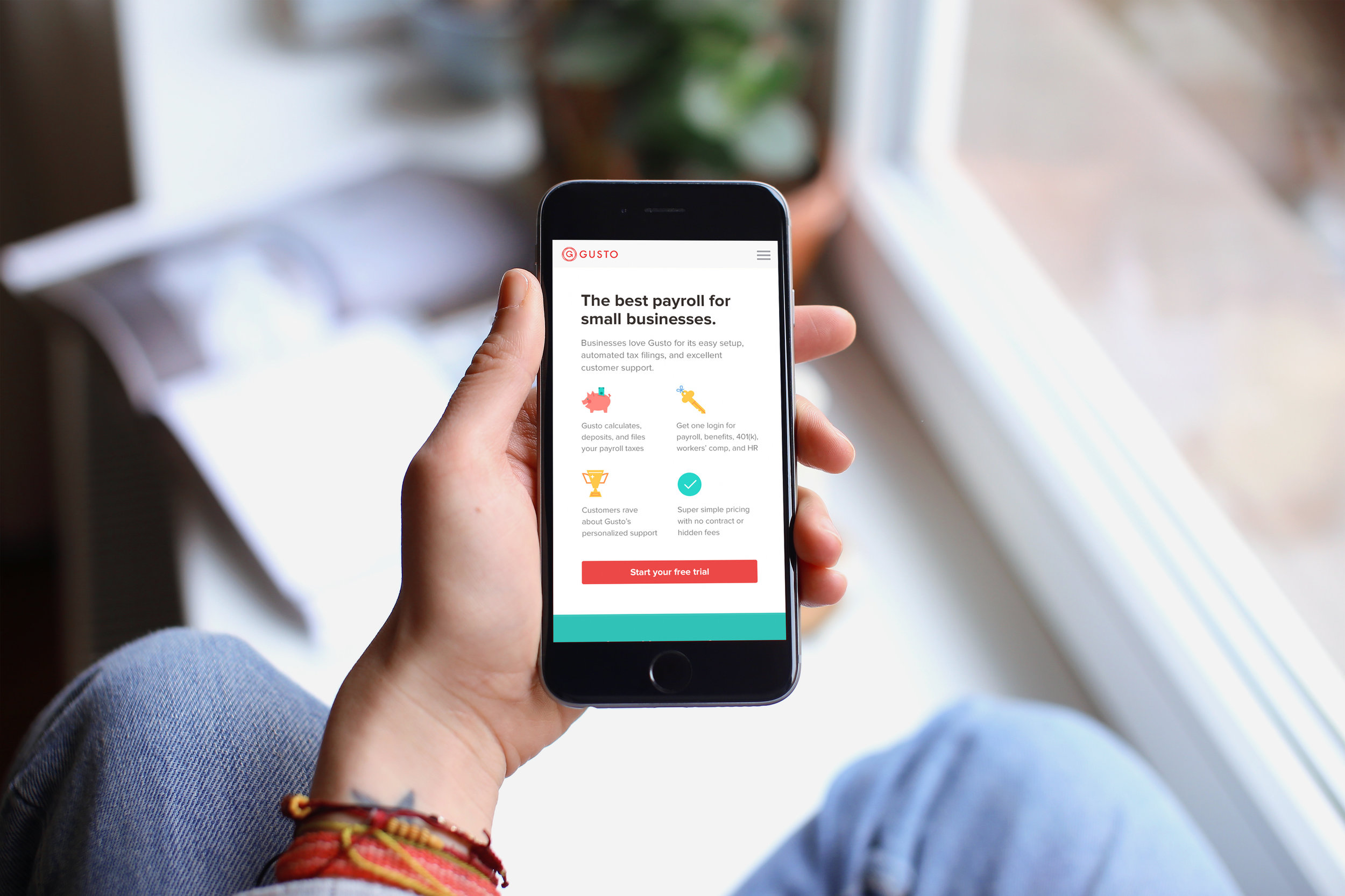 ux and ui for gustos lead gen mobile landing page