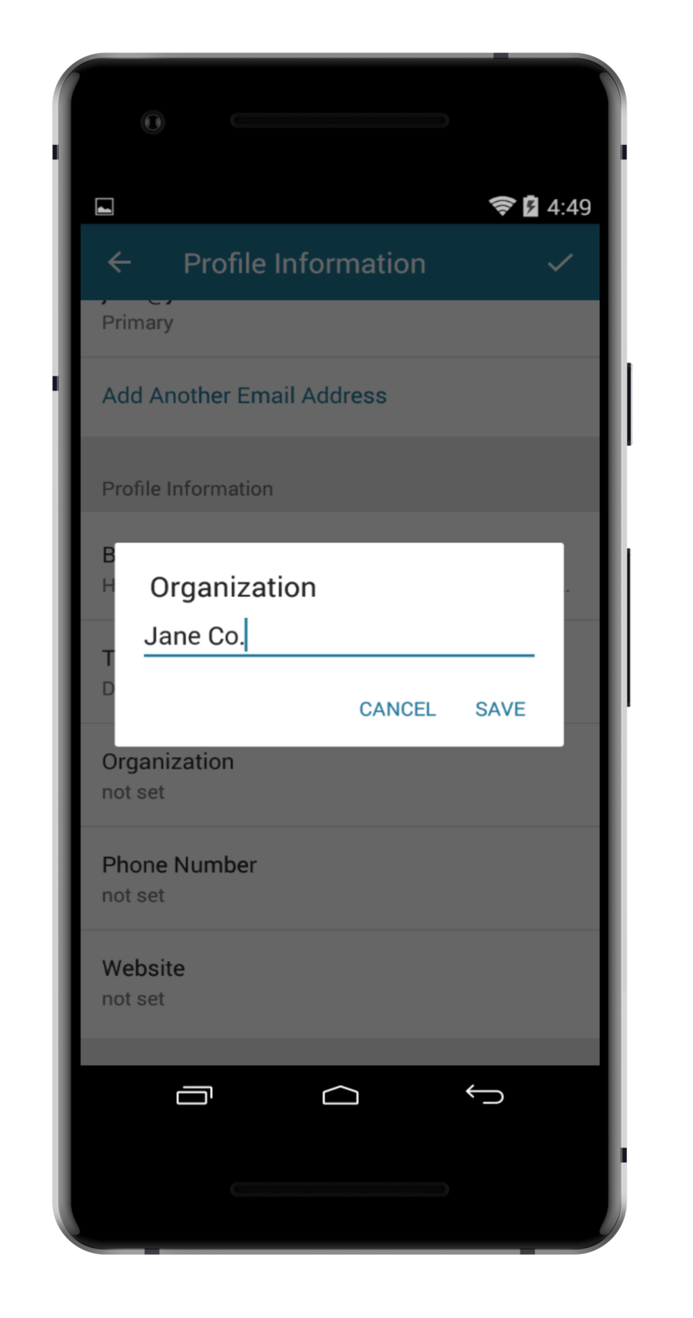 step 5. - ADD YOUR ORGANIZATION / COMPANY AND SAVE.