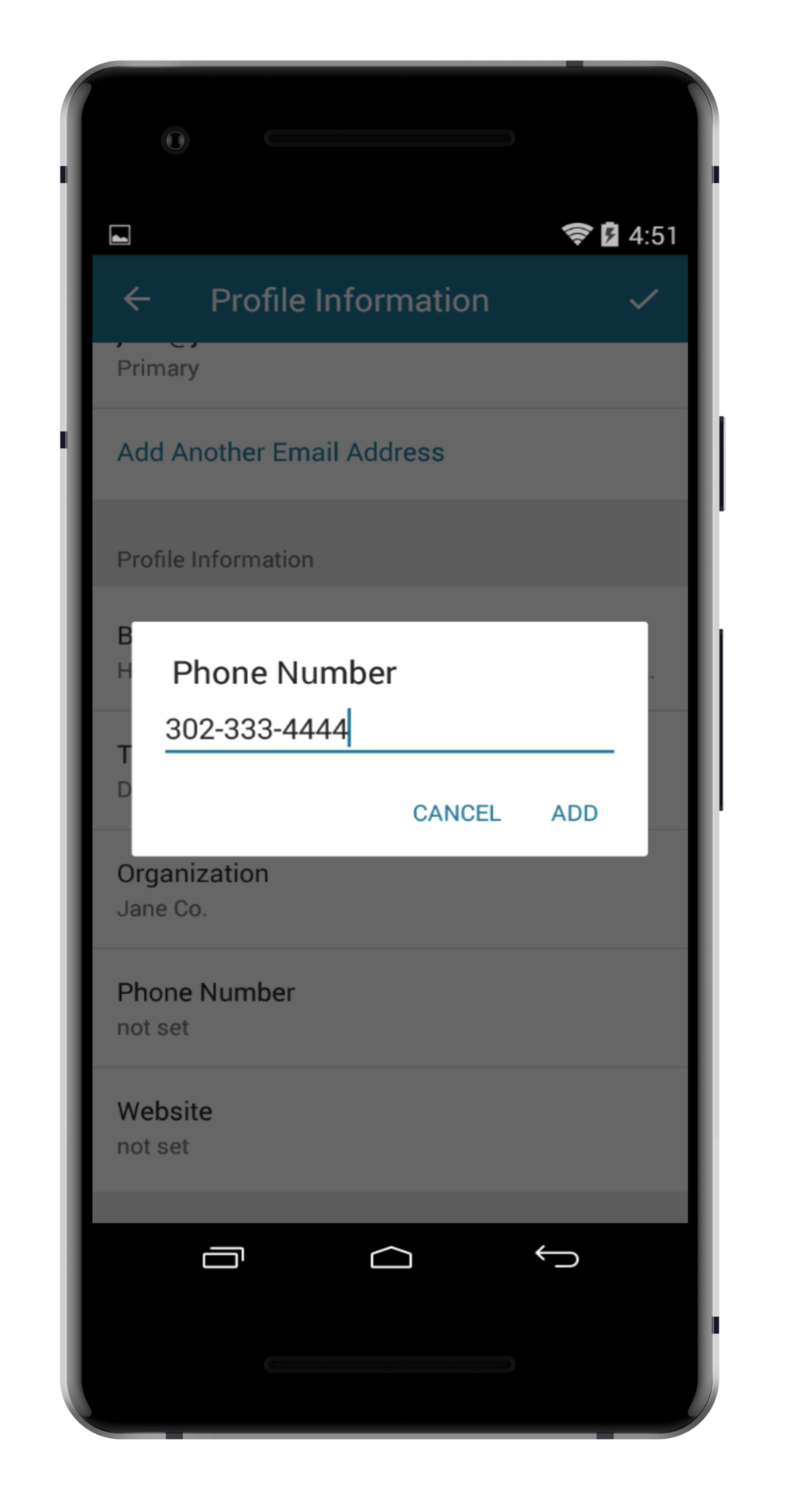 step 6. - ADD YOUR PHONE NUMBER AND SAVE.