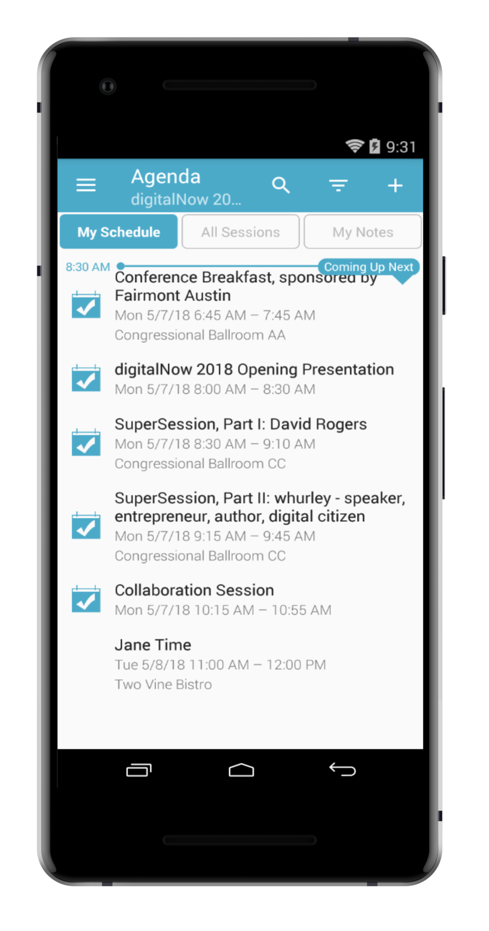 step 1. - FROM THE MY SCHEDULE TAB WITHIN THE AGENDA, FIND AN EVENT YOU WANT TO MAKE NOTES ON AND TAP IT'S TITLE TO SELECT IT.