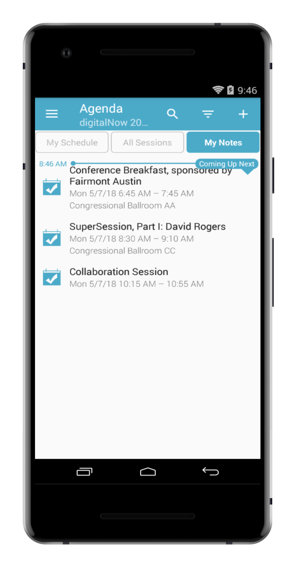 step 5. - TO SEE ALL OF YOUR NOTES ON ALL SESSIONS, CLICK 'MY NOTES' FROM THE AGENDA.