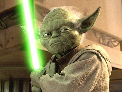 Yoda with light saber