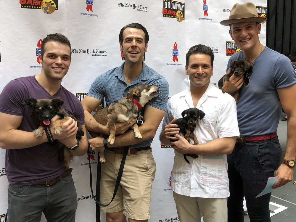 The cast of Jersey Boys with 1 Love's dogs and puppies at Broadway Barks in Shubert Alley!