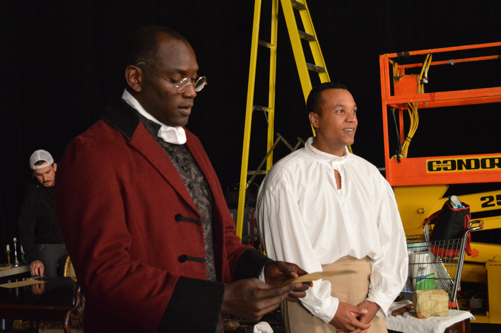 Actor Shawn Durham (left) dressed as Thomas Jefferson, and actor Marcel Ames (right) as one of his many roles.jpg
