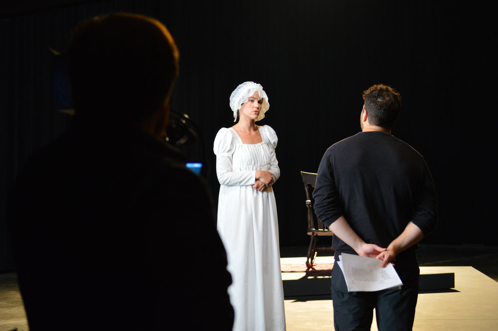 Director Michael Duni talks with actor Jasmine Shea 2.jpg