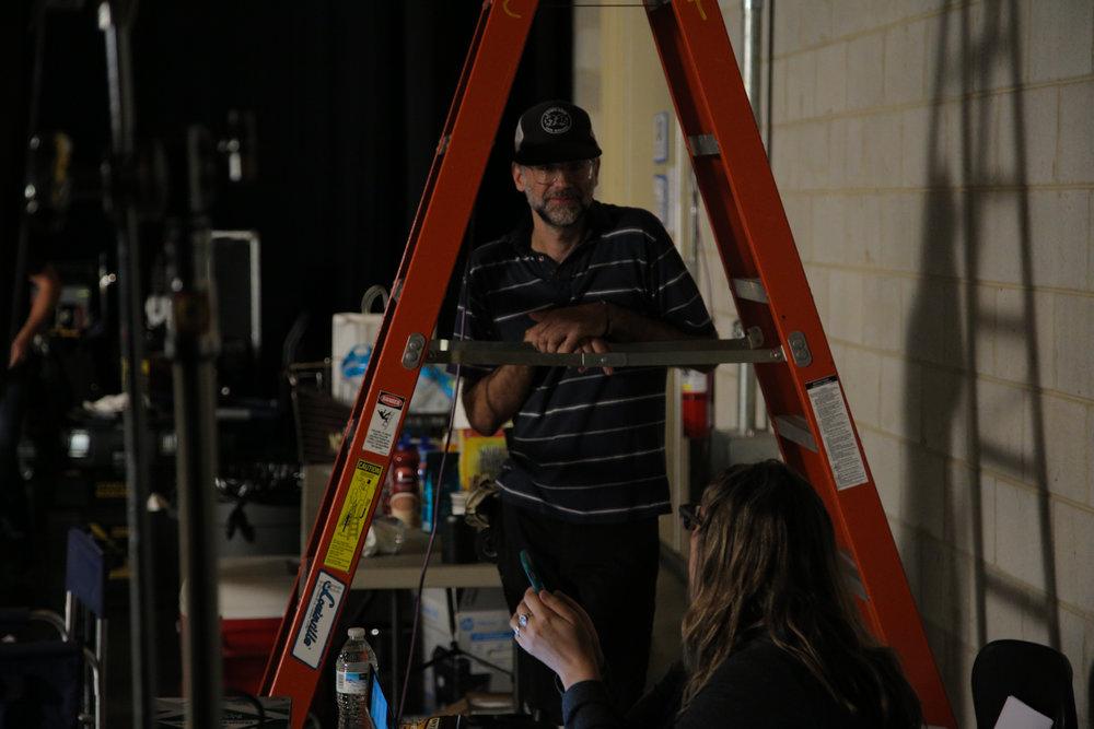 Gaffer Dave Weaver talking to Producer Christrina Garnett.jpg