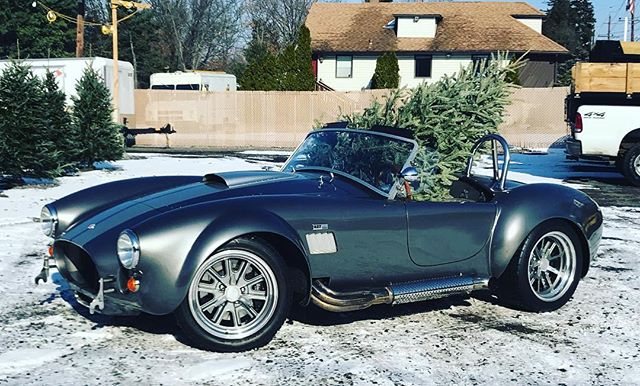 A Christmas tree to donate to a family in need. #donatetoday #donations #givetoothers #helpothers #cashcares #shelbycobra #shelby #vintagecars #funnychristmas #carhumor