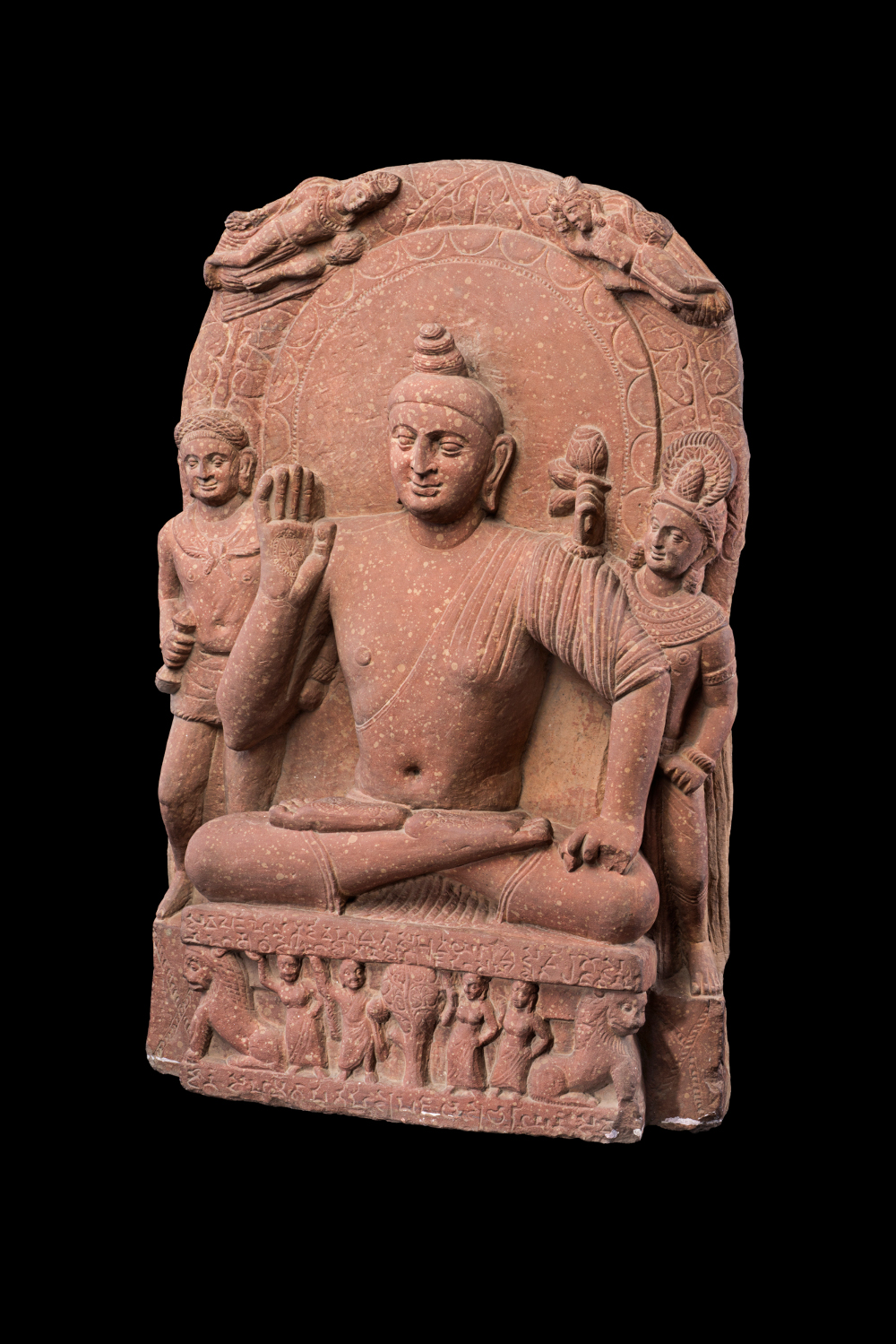 Buddhist triad from Mathura - Red sandstoneProbably AD 159–160Ahichhatra, Uttar Pradesh, IndiaNational Museum, New Delhi