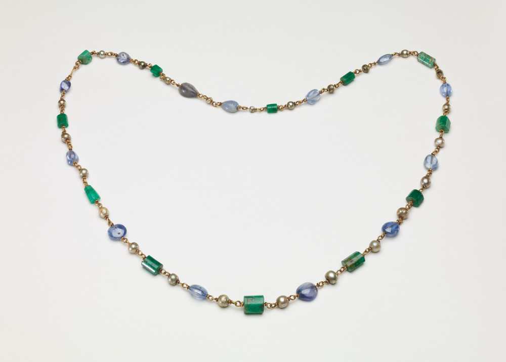 Roman necklace - Emerald, sapphire, pearl and goldAD 300–400TunisiaBritish Museum Gemstones from South Asia were highly valued and widely traded in the ancient world. The gems on this necklace are likely to have originated in India or Sri Lanka, before journeying across the Indian Ocean, through the Red Sea and then onwards to the wider Roman world. The Roman Emperor Leo (AD 457–474) later restricted the wearing of emeralds, pearls and sapphires to imperial use, demonstrating the high esteem in which they were held.