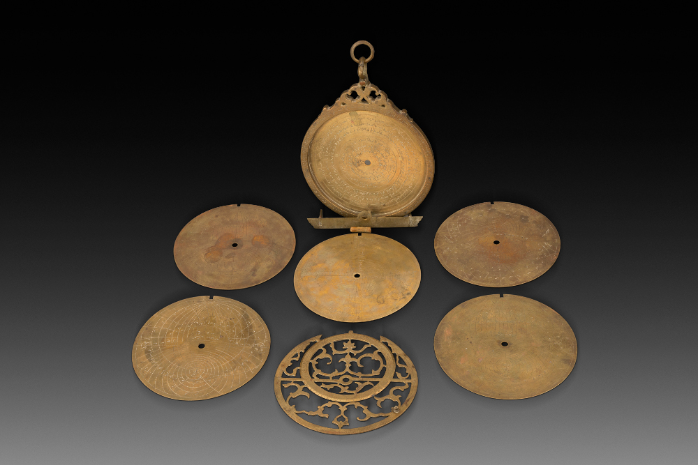 Astrolabe - Made by Muhammad Muquim, grandson of the court astrolabe maker of Humayun, Shaikh Allahdad of LahoreBrassAD 1665Lahore, Punjab, PakistanArchaeological Survey of India, Mumtaz Mahal Museum, Red Fort