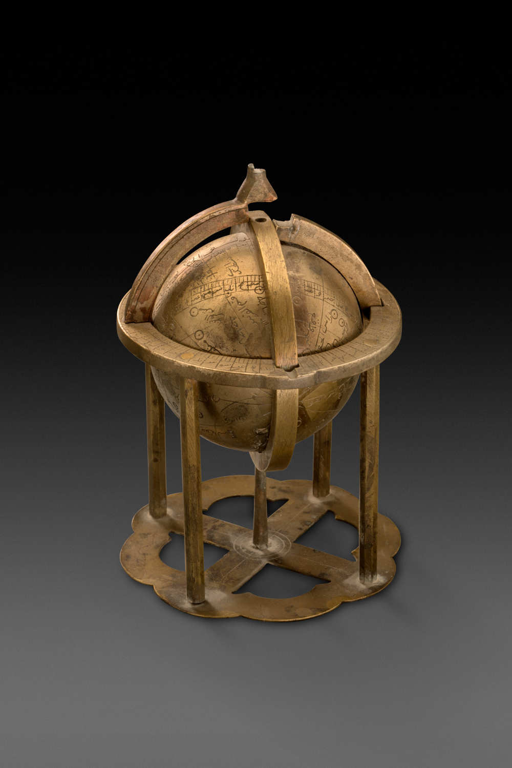 Celestial sphere - Fitted in a stand made by Zia ud-din Muhammad, Son of Mulla Qaim MuhammadBronzeAD 1676Probably Lahore, Punjab, PakistanArchaeological Survey of India, Mumtaz Mahal Museum, Red Fort