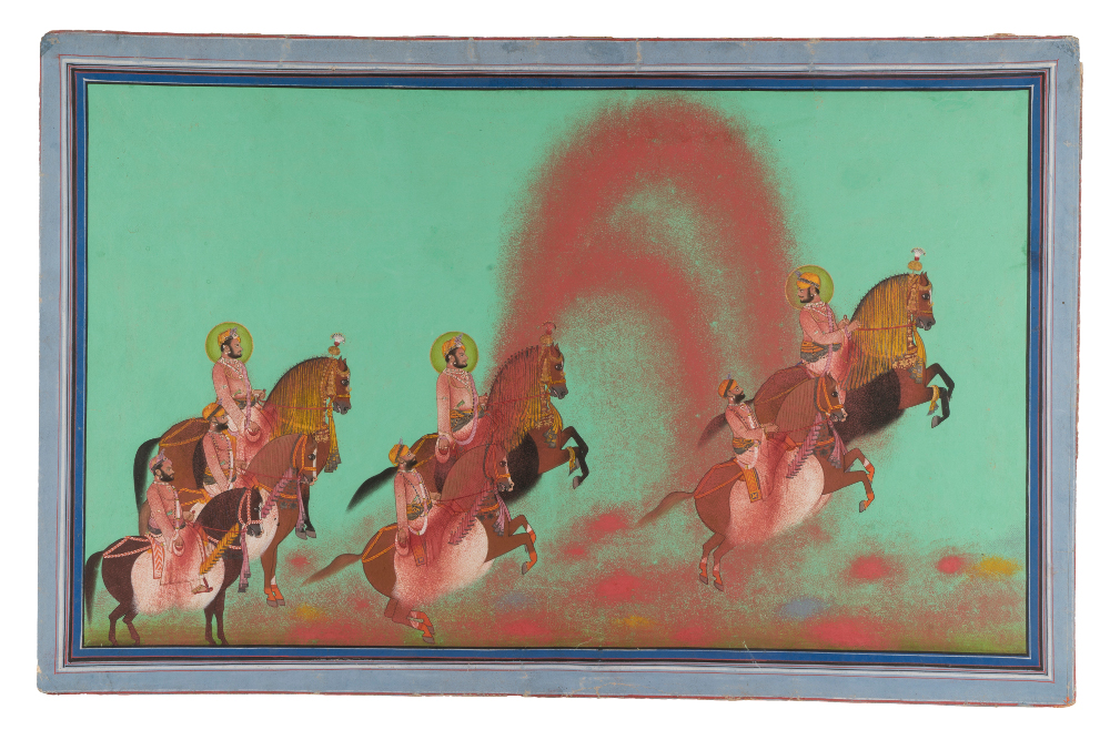 Maharaja Shree Shambu Singh of Mewar playing Holi - Attributable to ParasuramOpaque pigment and gold on paperMewar, About AD 1868–70      Udaipur, Rajasthan, India   Government Museum and Art Gallery, Chandigarh This painting depicts Maharana Shambhu Singh (reigned 1861–74), his ministers and their chosen horses taking part in Holi. Shambu Singh inherited the throne of Mewar when still a minor and a British political agent assumed the role of guiding him. Here, the king and his courtiers stand stationary at the left, they carry pouches of colour in the middle, which they toss into the air and catch up with to drench their horses on the right.