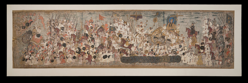 Procession of Abdullah Qutb Shah - Painting on clothAbout AD 1650Golconda, IndiaSir Akbar Hydari CollectionCSMVS, Mumbai This painting depicts the military procession of the Golconda court of Abdullah Qutb Shah (reigned 1626–72) in the Deccan in south India. This is a public display of pomp and pageantry, with bearers of flags, incense-burners, and soldiers – some holding swords, some with lances and others with guns. Abdullah Qutb Shah famously surrendered his empire to the Mughals in 1636, rendering all this military pageantry slightly ironic.