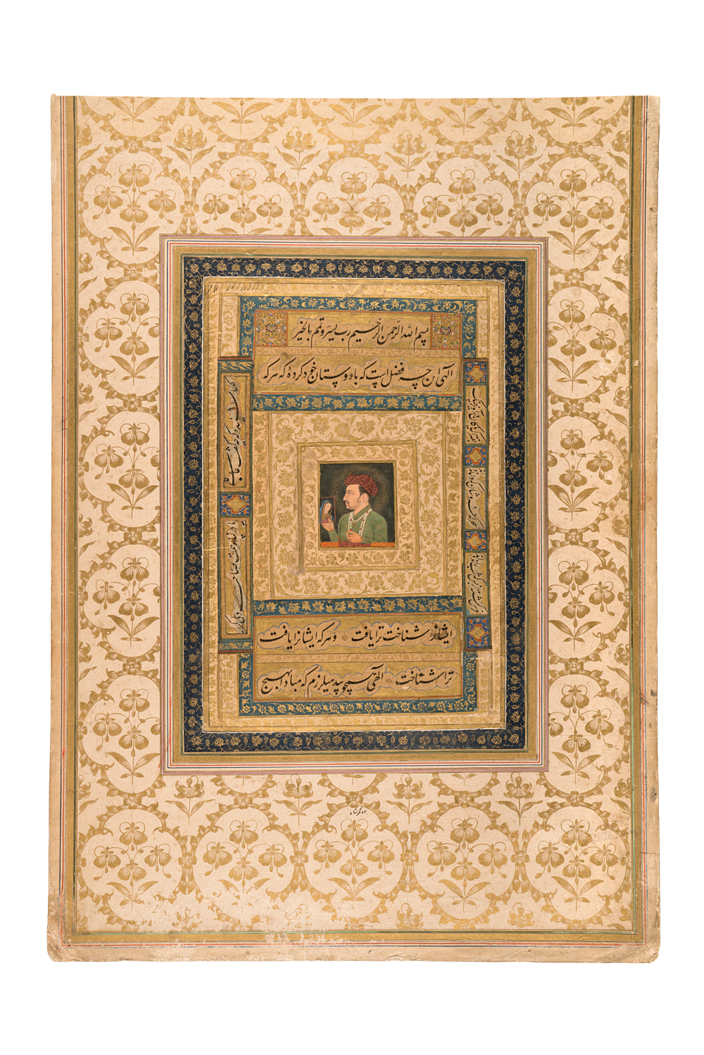 Jahangir holding a portrait of the Virgin Mary - Opaque watercolour and gold on paperAbout AD 1620Probably Agra, Uttar Pradesh, IndiaNational Museum, New Delhi This portrait of the Mughal Emperor Jahangir (1569–1627), shows him holding an icon of the Virgin Mary, while a golden halo of light radiates around him. Poetic inscriptions, around the side of the painting, ask for strength and protection for Jahangir to face the surrounding darkness and rise to the challenges of kingship. Maryam (the Virgin Mary) occupies a prominent place among the women in the Qur'an and became an epithet for Mughal queens.