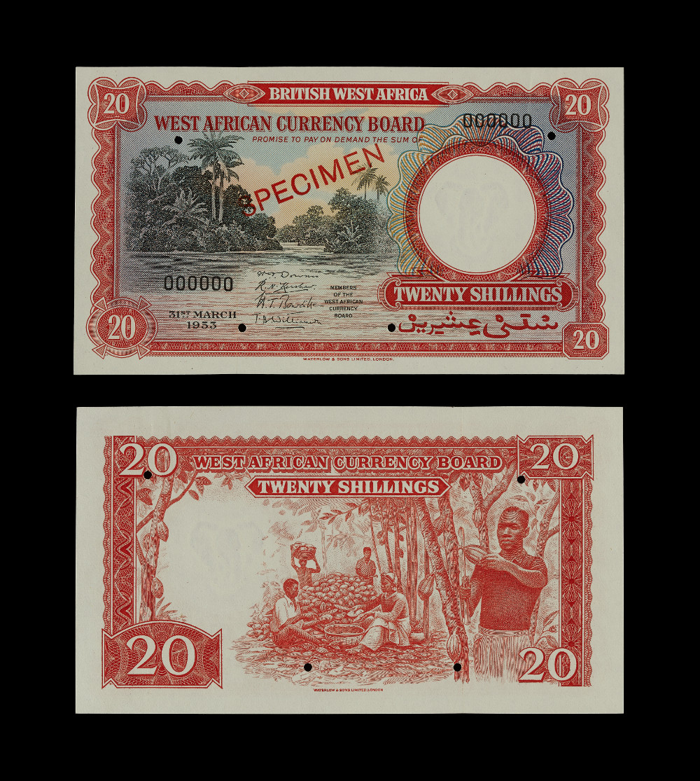 Ghanaian banknotes: 20 Shilling - PaperAD 1953GhanaBritish Museum