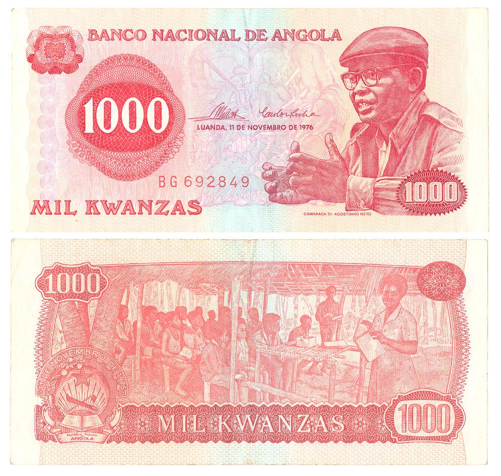 Angolan Banknotes:1000 Kwanzas - PaperAD 1976AngolaBritish Museum
