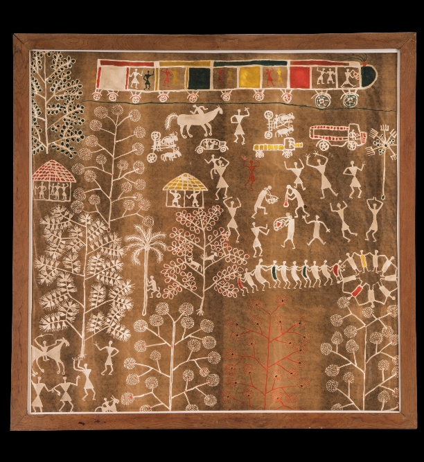 Warli painting  - By Jivya Soma MasheAD 1975–77Maharashtra, IndiaCrafts Museum, DelhiThis painting by Jivya Soma Mashe documents a time when the life of the Warli, an indigenous people of western India, was changing. Warli painting was always about movement – people in marriage processions, festive dances and harvests marking the passage of time. Yet to the fixed visual vocabulary that marked a seemingly eternal cyclical time, Jivya brought a radical change. Here, he depicts the trains, trucks, and cars that are now part of Warli life, alongside the traditional bullock-drawn cart.