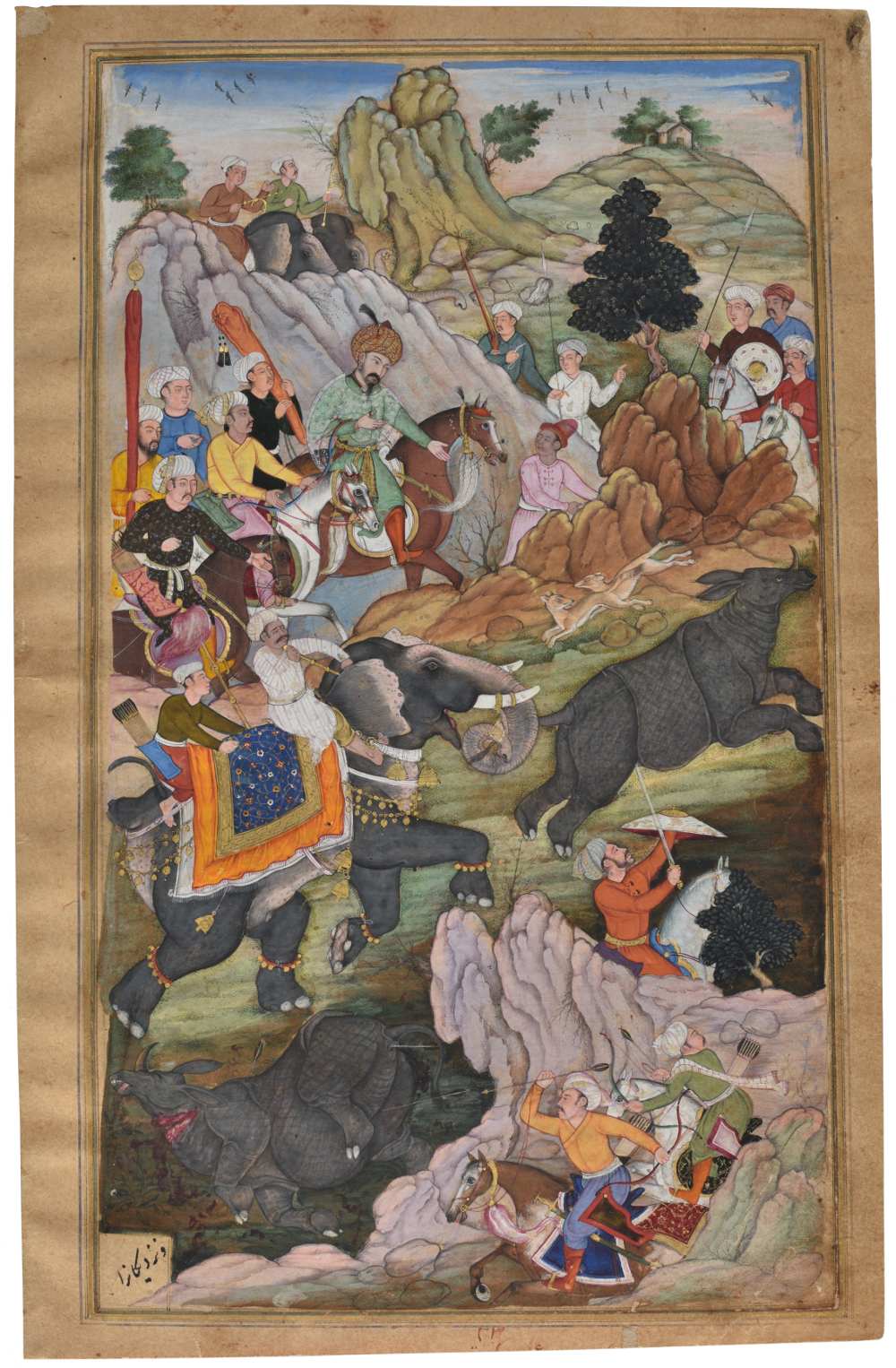 Two folios from the Baburnama:Folio two  - Ink and opaque watercolour on paper, mineral pigmentAbout AD 1598Probably Agra, Uttar Pradesh, IndiaNational Museum, New DelhiThis painting shows Babur hunting rhinoceros near Peshawar on his fifth expedition in 1525. This provided the opportunity for Babur to satisfy his curiosity about what happens when an elephant and a rhino come face to face. He noted that the rhino retreated and that his young son Humayun who had never seen a rhino before was much entertained. The account comes from Babur's autobiography – the Baburnama, but the paintings were made in the reign of his grandson Akbar (1556–1605).