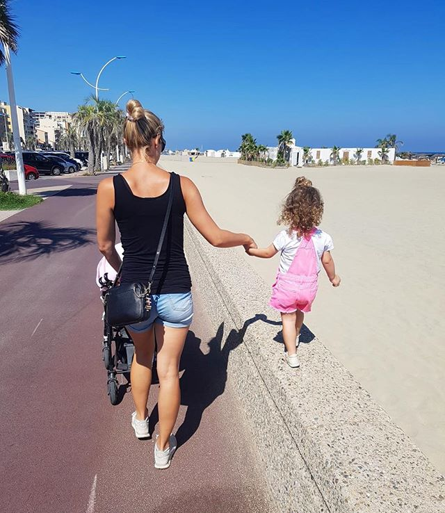 A perfect day for a stroll with my little family 🌴 #France #Plage #Perfection #Finley #Eve
