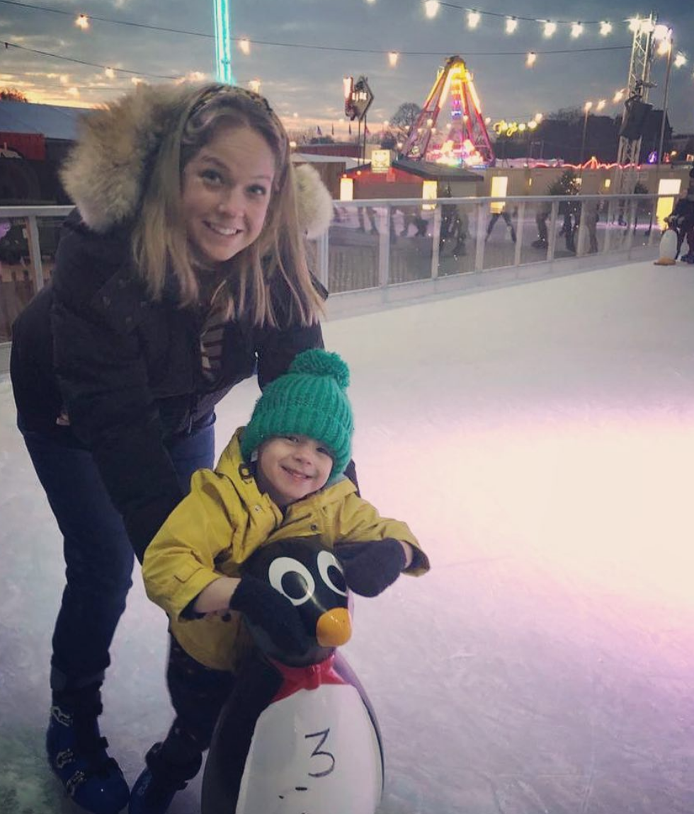 Isobel-Sita Lumsden getting her penguin skate on with Teddy, 4