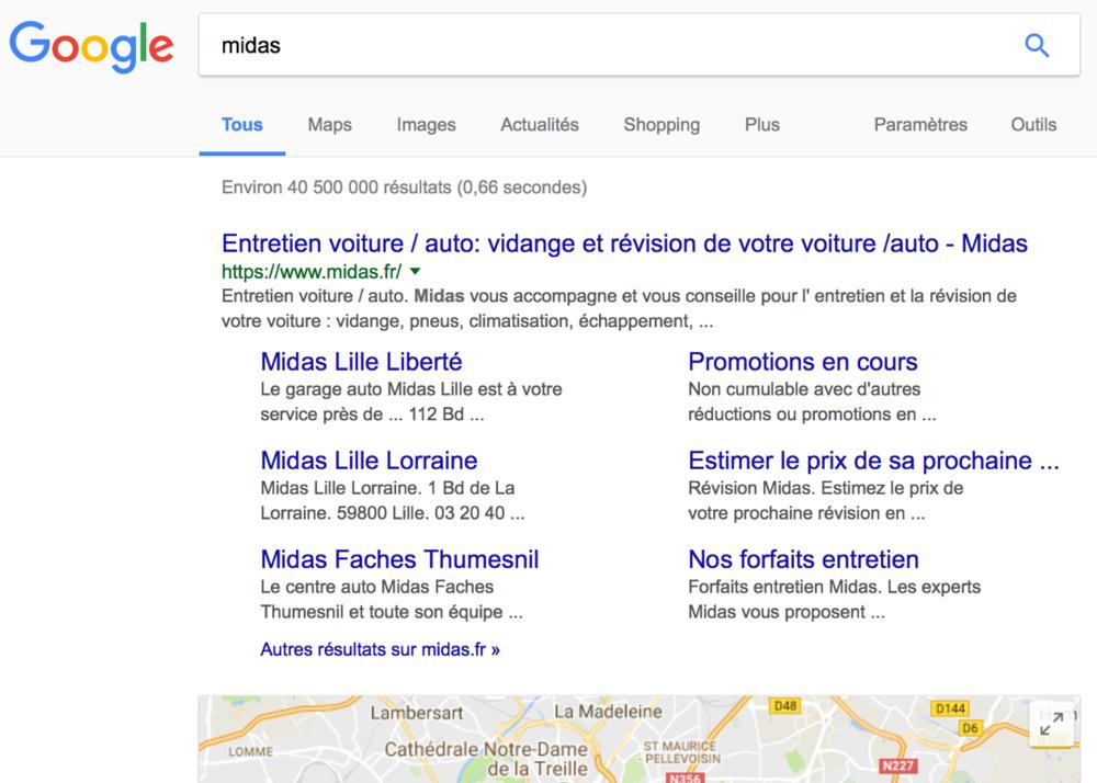 Je tape « Midas » - midas.fr est 1er en résultat naturel