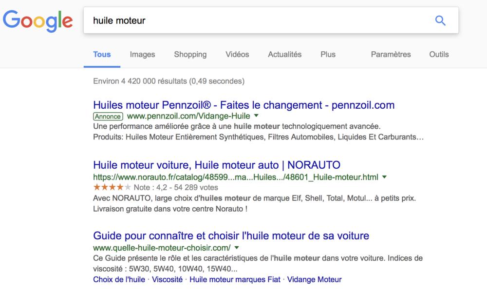 Je tape «huile moteur » - midas.fr n'apparait pas dans la première page de Google