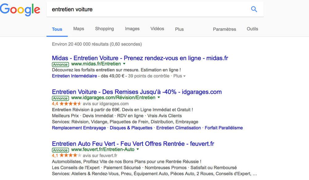 Je tape «entretien voiture » - midas.fr est 6e en résultat naturel (1er en résultat payant Adwords)