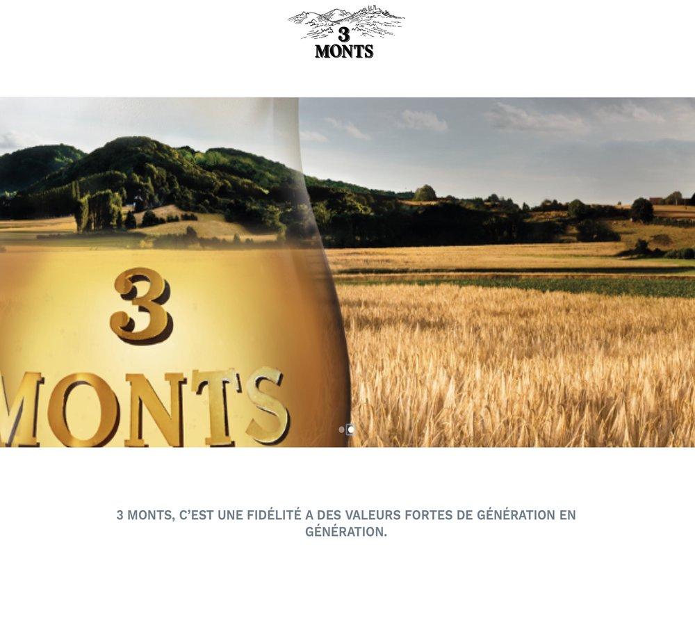 biere-3monts.com - Création d'un site vitrine temporaire pour la bière 3 Monts de la Brasserie de Saint Sylvestre,Conception d'une plateforme e-commerce sous Shopify avec plateforme de paiement sécurisé Stripe.