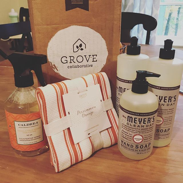 My Grove Collaborative favorites so far!!! Momma smiles when I️ get packages in the mail! #mrsmeyerslavender #grovecollaborative #laurasfavorites #caldreaproducts
