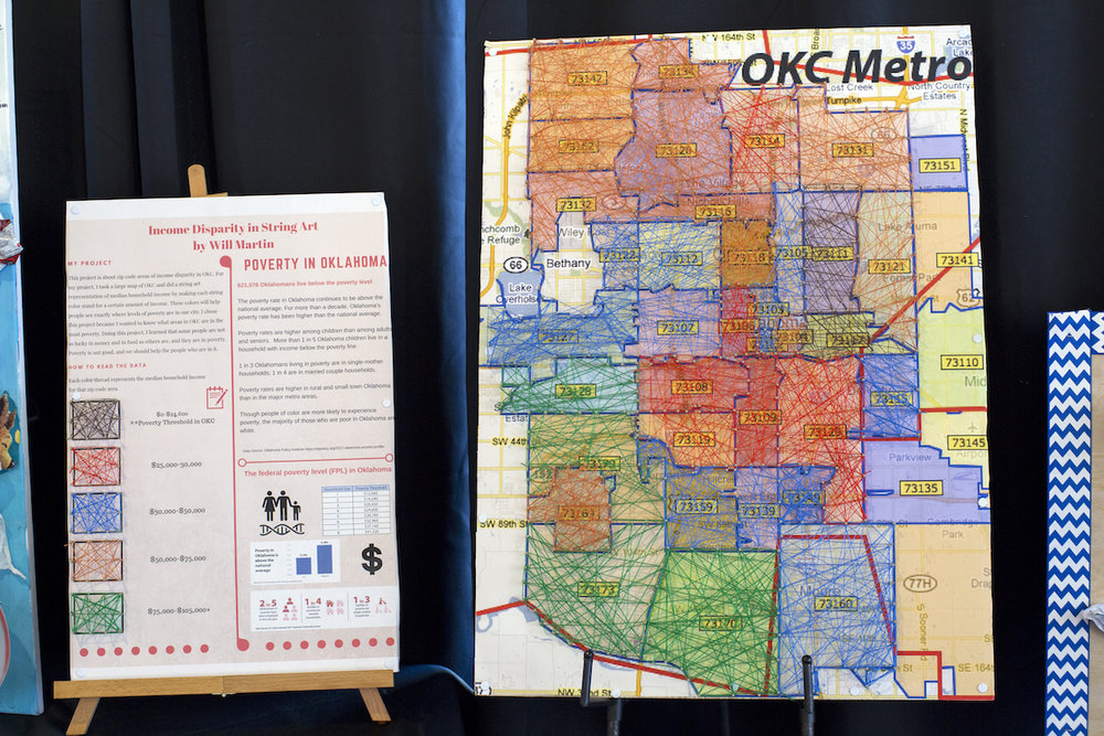 Seventh grade OLA student creates a yarn map to show poverty and wealth in the different zip code areas of Oklahoma City, OK.