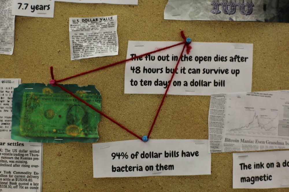 Tenth Grade OLA student displays fun details about the dollar bill.