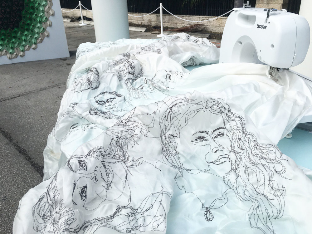"""Belong Here Now"", 2015 embroidered portrait performance, free-motion embroidered rayon on silk organza"