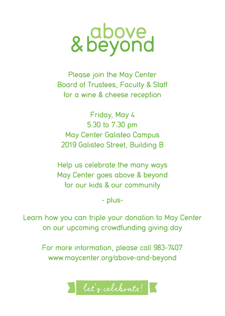 Help May Center go Above & Beyond