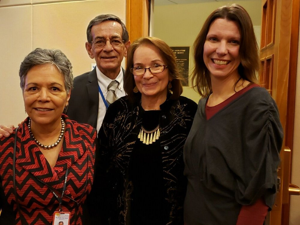 Pictured here are Dr. Carmen Gonzales, Dr. Steven Sanchez, Senator Mimi Stewart, and May Center Executive Director Amy Miller.