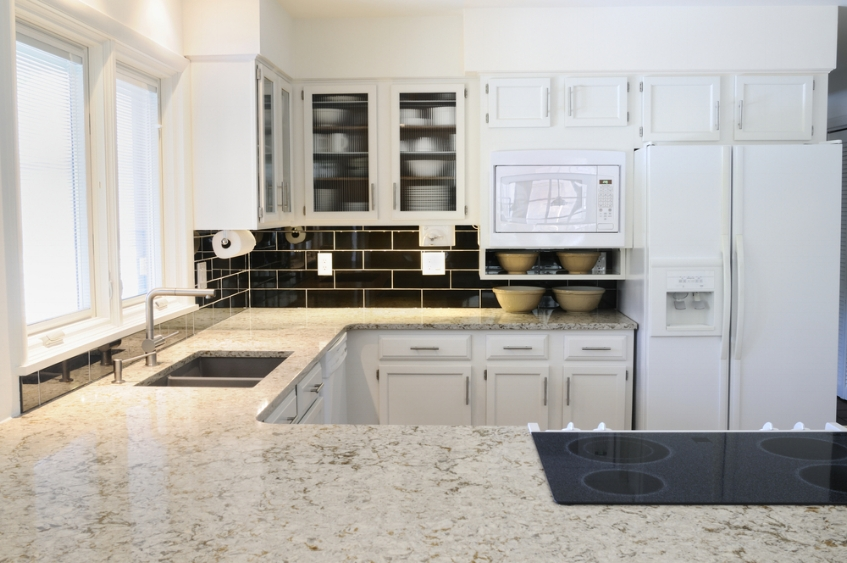 Granite with under-mount stainless steel sink -