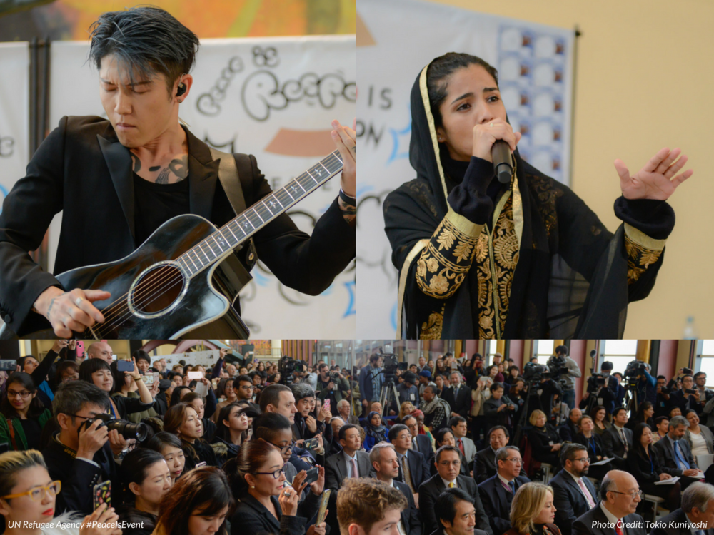 "Performing with Miyavi at the United Nations Refugee Agency's (UNHCR) ""Peace Is"" Event"